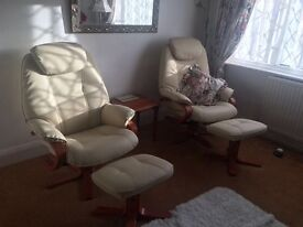 2x HSL recliners and footstools
