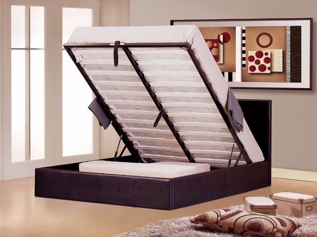 BRAND NEW LEATHER OTTOMAN STORAGE BED LEATHER GAS LIFT SINGLE DOUBLE KING WITH MATTRESS
