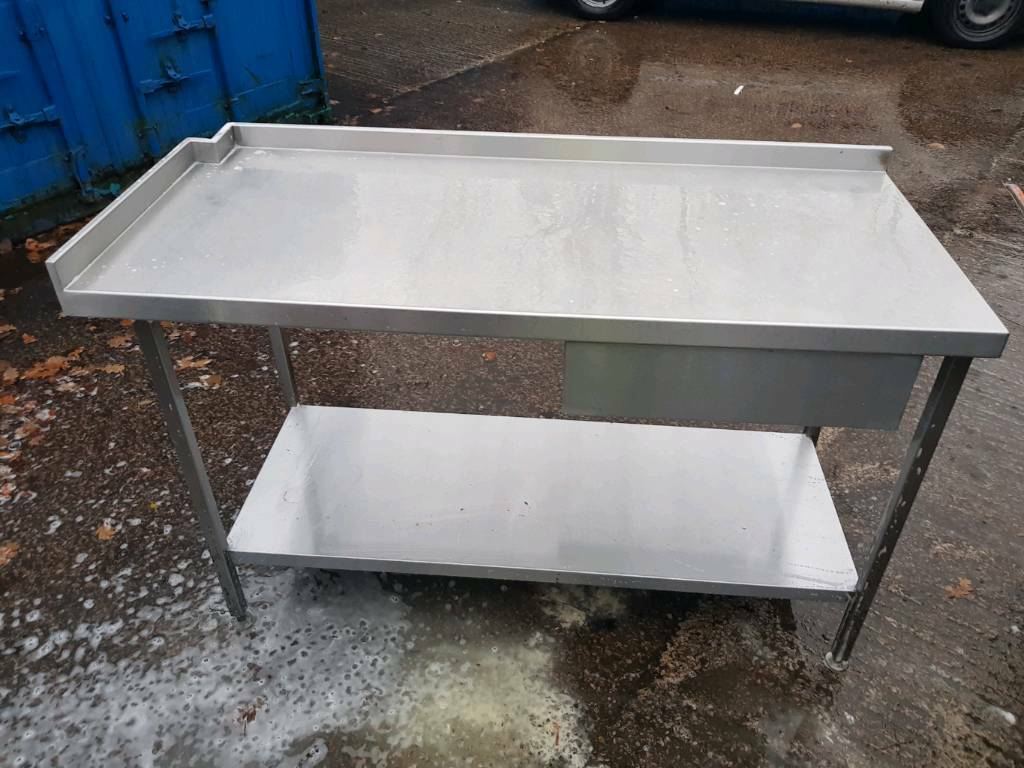 Stainless steel table with under shelf and drawer