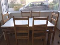 Large Pine Farmhouse Table & 6 Chairs
