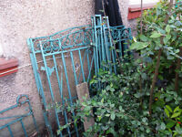 3 Iron Gates and 4 posts, also short Iron railing. CIRCA 1930 and 1960.
