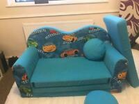 Children sofa bed + pillow and stool