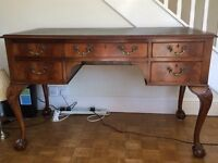 Antique, green leather topped, writing desk