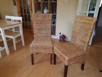 Solid Rattan Dining Chairs x 2