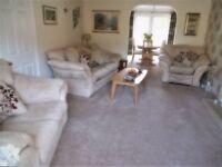 Large suite comprising 1 recliner chair, 1 two seater settee and 1 three seater settee in suede