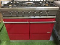 Stunning lacanche Moderne Cluny Range cooker Double oven red and chrome
