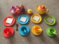Plastic children tea party set and cupcake