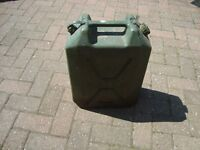JERRY CAN. 5 GALLON CAPACITY. USED FOR DIESEL STORAGE. PLASTIC. EX-ARMY