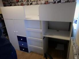 Miami Fresh Midsleeper Bed With Desk, Drawers, Cupboards And