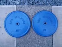 2 x 25kg Body sculpture metal weight plates