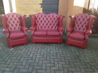 Chesterfield genuine leather 3 piece suite. EXCELLENT CONDITION! BARGAIN!