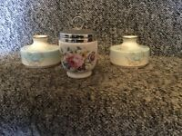 Royal worcester egg coddled and two candle holders
