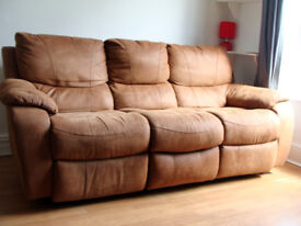 3 seater sofa, two end seats manual recliners
