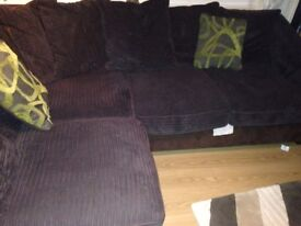 dark brown corner sofa (right side) 4 seater with matching foot rest