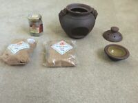 Incense Burner Set with Sand and Frankincense Resin