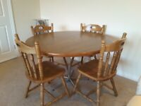 Circular Dining Table and 4 Rubber Wood Chairs