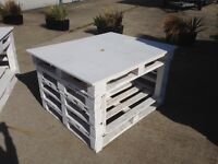 Pallet Table Shop Display White Wood Product Shelving Rustic Shabby - 2 Available - Free