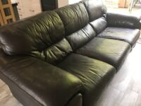 Brown leather 3 seater settee/sofa