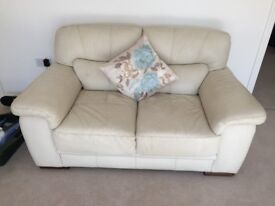 Matching cream leather 2 & 3 seater sofa