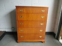 BEITHCRAFT INLAID MAHOGANY FIVE DRAWER CHEST OF DRAWERS FREE DELIVERY