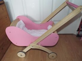 Pintoy Wooden Doll's Pram for Toddlers