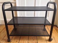 black trolley, 3 tiers/shelves, on wheels, metal