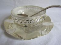 Vintage Silver Plate Condiments Dish With Frosted Glass Insert & Spoon