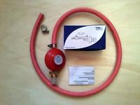 Propane Gas Regulator c/w 1.5 metres LPG hose & clips - Brand New