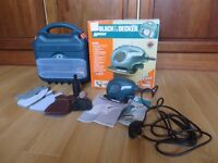 Mouse Sander, Brand Black & Decker in carry case, plus extras.