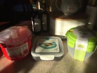 3 Tupperware containers and rice microwave steamer