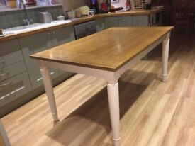 Oak Top Dining Table with Cream painted Legs
