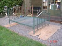 Metal Framed Double Bed. Mattress Available. Leaf Design on the Headboard and Footboard.Can Deliver.