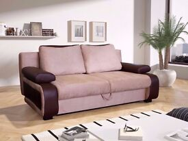 70% OFF!! MODERN AND CLASSY BRAND NEW LEATHER & FABRIC SOFA BED with STORAGE UNDERNEATH