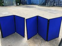 6 Panel Folding Display Boards exhibition blue as 2 x 3