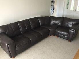 Brown Leather Corner Sofa & Armchair