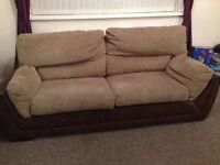 3 Piece suite, 3,2&1 seater, fabric& brown leather back