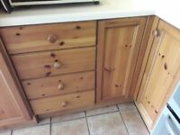 Wooden kitchen unit doors and handles excellent quality bought from Leeks