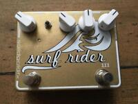 SolidGoldFX Surf Rider III custom bullion gold spring reverb pedal