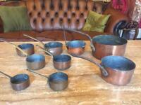 Set of 9 antique copper pans