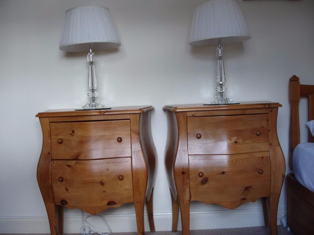 two gorgeous pot bellied antique bedside drawers solid wood