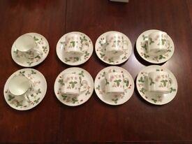 Wedgewood Bone china coffee cups saucers wild strawberry