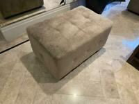 Large Silver Grey Pouffe | Good Condition