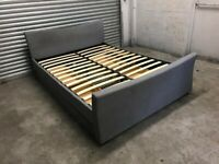 FREE DELIVERY GREY FABRIC KINGSIZE BED WITH 4 STORAGE DRAWERS