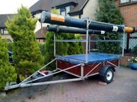 Trident dinghy box trailer with triple stack rack