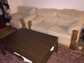 Double sofa + Single armchair sofa + living room coffee table *Great Condition