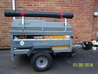Camping gear trailer ERDE 143 with hard cover.