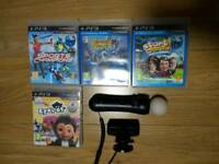 PS3 Playstation Move Controller + Eye CAMERA + 4 GAMES BUNDLE