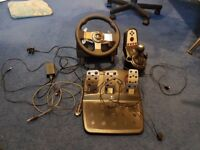 Logitech G27 wheel, pedal and gearstick set with Leo Bodnar Cable. Fully working. No Box