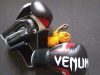 16oz Venum Gloves + wrist wraps + jockstrap + weights. *deal* rental by fatlama set cheap