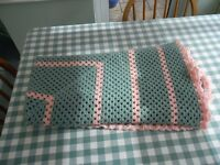 Pink & Teal Crochet Throw size - 130 x 130 cm good condition Hand Made